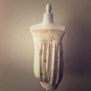 Off-White Tube Dress with Gold Stork Images